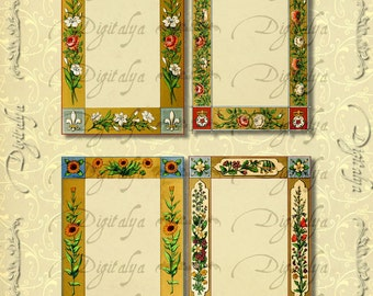 Instant Download - MEDIEVAL FRAMES - 2 Digital Collage Sheets - Royal Crown, Fleur de Lys for Jewelry Holders, ATC, menus, Tags - See promo