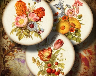 VINTAGE BOUQUETS - Circles 2.5 inch 63mm for pocket mirrors - Digital Collage Sheet - Instant Download - Buy 3 Get 1 Extra Free