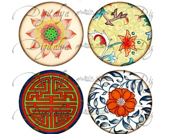 ASIAN ORNAMENT (1) Digital Collage Sheet - Circles 63mm - Oriental Art for Pocket Mirror - Buy 3 Get 1 Extra Free - Instant Download