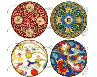 ASIAN ORNAMENT (4) Digital Collage Sheet - Circles for Pocket Mirrors - 63mm - See Promo Offer - Instant Download