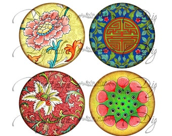ASIAN ORNAMENT (5) Digital Collage sheet - Circles 63mm for Pocket Mirror - Buy 3 Get 1 Extra Free - Instant Download