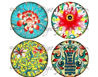 ASIAN ORNAMENT (7) Digital Collage Sheet - Circles 2.5 inch - 63mm for pocket mirror - Instant Download - Buy 3 Get 1 Extra Free