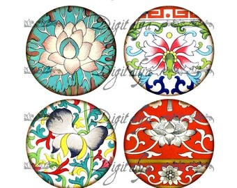 ASIAN ORNAMENT (9) Digital Collage Sheet - Circles 63mm for Pocket Mirror - Buy 3 Get 1 Extra Free - Instant Download