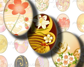 Japanese Design Orange (1) Digital Collage Sheet - Ovals 30x40mm or 18x25mm or other sizes available - Buy 3 Get 1 Extra Free
