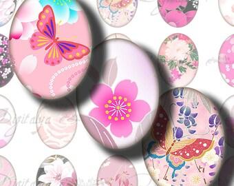 Digital Collage sheet - Japanese Design Pink (2) Ovals 18x25mm - .70x.98 inch - 30 motifs 63 Tiles - Buy 3 Get 4th Free