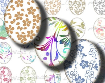 Japanese Design on White (1) Digital Collage Sheet  with Trendy washi motifs à la mode - Oval 1.2x1.6 inch - 30x40mm or smaller - see promo