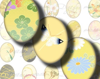 Japanese Design Yellow (1) Digital Collage sheet with Zesty motifs from Japan - 30 motifs 63 Ovals 18x25mm - Buy 3 Get 4th Free