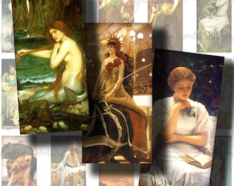 The Victorian Romantics and Neoclassical Paintings - Digital Collage Sheet  with Dominos 1x2 inch or Bamboo size - see promo offer