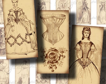 Corset and Crinoline (1) Fashion From The Past - Digital Collage Sheet - 30 different Dominos 1x2 inch for jewelry - See Promo Offer