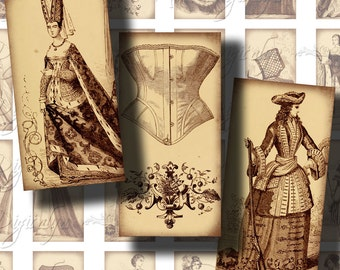 Corset and Crinoline (2) Digital Collage Sheet  - Dominos 1x2 inch or Bamboo size  - Buy 3 Get 1 Extra Free