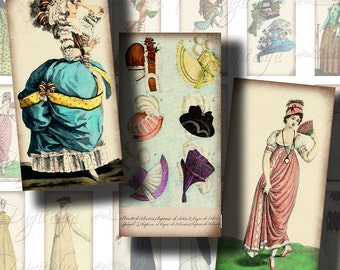 ANTIQUE HAUTE COUTURE - Digital Collage Sheet - Fashion through Time - 30 Dominos 1x2 inch for jewelry & craft projects - See Promo Offer