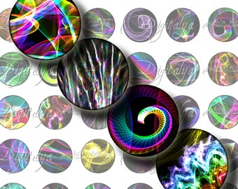 Prism, Multicolor Abstract Swirls on Black - Digital Collage Sheet - 48 Circles 1 inch - 25 mm or smaller - Buy 3 Get 1 Extra Free