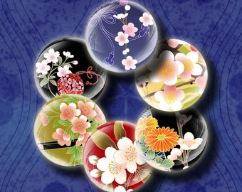 Sakura Bubbles (3) Digital Collage Sheet - 48 Circles 1inch - 25mm or smaller - Zesty Japanese Spring in bubbles - Buy 3 Get 1 Extra Free
