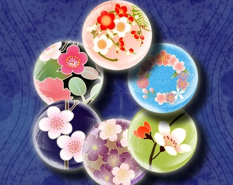 SAKURA BUBBLES (4) Digital Collage Sheet - Fresh & Zesty Spring in Japan 48 Circles 1inch - 25mm  or smaller - See Promo Offer