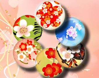 Simply Sakura (4) Digital Collage Sheet - Circles 1inch - 25mm or smaller - Trendy and Vibrant Cherry Blossoms  - Buy 3 Get 1 Extra Free