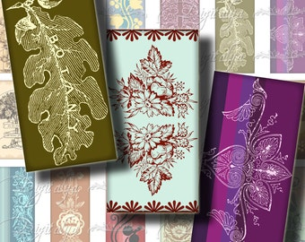 Old and Trendy (1) Digital Collage Sheet - Vintage Ornament with a modish style 30 different Dominos 1x2 inch - Buy 3 Get 1 Extra Free