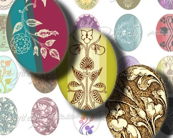 OLD & TRENDY - Digital Collage Sheet - Ovals 30x40mm or smaller with revamped Art Nouveau, Baroque motifs - Buy 3 Get 1 Extra Free