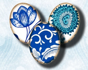 Digital Collage sheet - Chinese Antique floral prints - Asian Blue Porcelain (9) Ovals 30 motifs 63 Tiles18x25mm - see promo