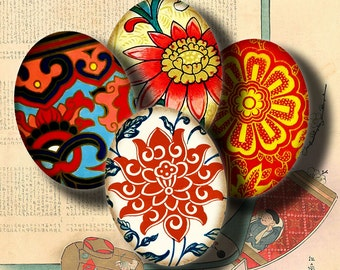 Asian Ornament (8) Digital Collage Sheet - 30 different motifs - 63 Ovals 18x25mm - .70x.98 inch - See Promo Offer