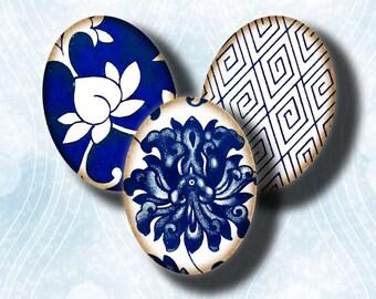 Asian Blue Porcelain (10) Digital Collage sheet - Oriental Porcelain Motifs - 30 motifs 63 Ovals 18x25mm - .70x.98 inch - See Promo Offer