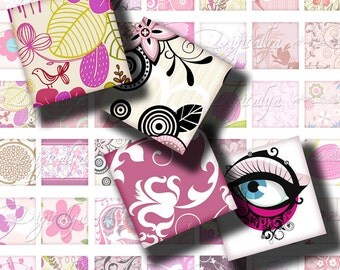 "Shades of Pink (2) Digital Collage Sheet with trendy swirls floral in pink - Square 1x1"" or 0.875"" or scrabble - Buy 3 Get 1 Extra Free"