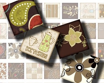 Shades of Brown (2) Squares 1in or 0.875 or scrabble Digital Collage Sheet  floral swirls, stripes, polka dots - Buy 3 Get 1 Extra Free
