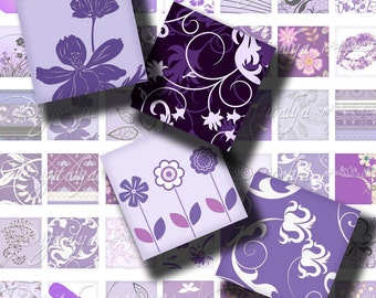 Digital Collage Sheet - Shades of Purple (3) Squares 1x1 or 0.875 or scrabble - Trendy designs in Purple for scrabble & pendant