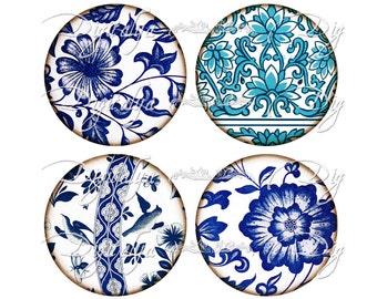 INSTANT DOWNLOAD - Vintage Asian Blue Porcelain Motifs (1) Digital Collage Sheet Circles 2.5 inch - 63mm for pocket mirrors - see promo