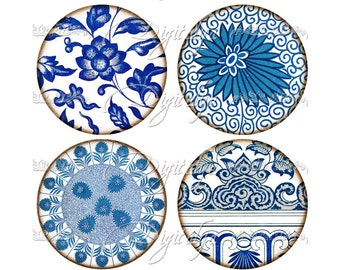 ASIAN BLUE PORCELAIN (3) Digital Collage Sheet - 12 Circles 2.5 inch for Pocket Mirror, Badge, Magnet - see promo - Instant Download