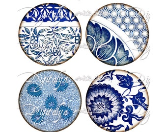 ASIAN BLUE PORCELAIN (6) Digital Collage Sheet - Circles 2.5 inch for Pocket Mirrors  - Buy 3 Get 1 Extra Free - Instant Download