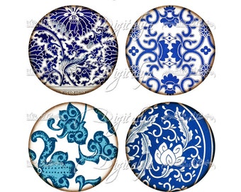 ASIAN BLUE PORCELAIN (10) Digital Collage Sheet - Circles 2.5 inch - 63mm for Pocket Mirrors - See promo offer - Instant Download