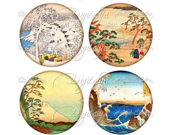 ASIAN LANDSCAPE (6)  Digital Collage Sheet - circles 2.5 inch - 63mm for Pocket Mirrors - Buy 3 Get 1 Extra Free - Instant Download
