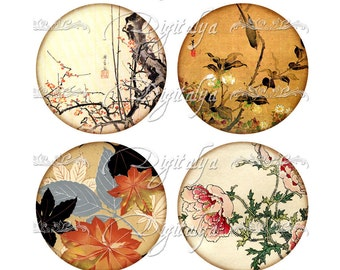 Floral prints from Japan and China - ASIAN FLORA (1) Digital Collage Sheet - circles 63mm for Pocket Mirror & craft - Instant Download