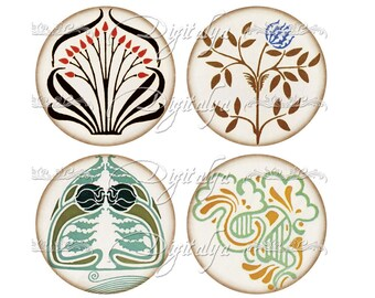 ART DECO ORNAMENTS (3) Digital Collage Sheet - Circles 2.5 inch - 63mm for Pocket Mirror - see promo offer - Instant Download