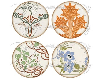 Motifs from FRENCH ART DECO (4) Digital Collage Sheet - Circles 2.5 inch for Pocket Mirrors - Buy 3 Get 1 Extra Free - Instant Download