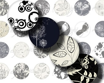 Shades of Black (2) Digital Collage Sheet - Circles 1inch - 25mm or smaller for button, magnet, resin pendant - Buy 3 Get 1 Extra Free