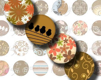 Shades of Brown (4) Digital Collage Sheet - Circles 1inch - 25mm or smaller with Modern style brownish Designs  - Buy 3 Get 1 Extra Free