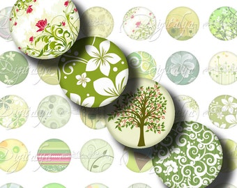 Shades of Green (2) Digital Collage Sheet - Circles 1inch - 25mm or smaller - Modish Motifs in Greens - See Promo Offer