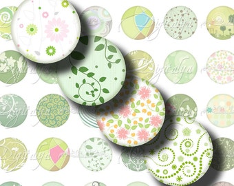 Shades of Green (4) Digital Collage Sheet - Stylish and Chic Greens 48 Circles 1inch - 25mm or any smaller size - Buy 3 Get 1 Extra Free