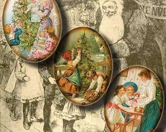 Victorian Smiles Of Christmas Past  - Digital Collage Sheet - 30 Ovals 1.2x1.6 inch - 30x40mm or smaller - See Promo Offer