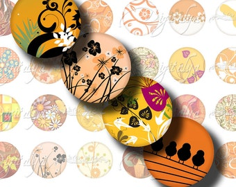 Shades of Orange (1) Digital Collage Sheet - Voguish motifs in orange nuances - 48 Circles 1inch - 25 mm or any smaller size