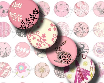 Shades of Pink (4) Digital Collage  Sheet - Circles 1inch or any smaller size with black birdies, bunny, tree, flower & swirls - see promo