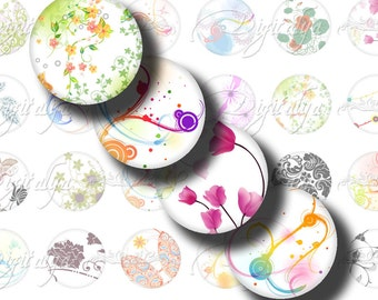 Shades of White (1) Digital Collage Sheet - Circles 1 inch - 25mm or smaller with rainbow motifs on White Background