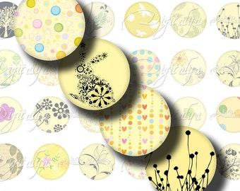Shades of Yellow (2) Digital Collage Sheet - 48 different Circles 1 inch - 25mm & any smaller size - Buy 3 Get 1 Extra Free