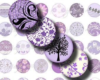 Shades of Purple (1) Circles 1 in - 25 mm or smaller - Digital Collage Sheet - Violets the trendy way for pendant, earrings, magnet