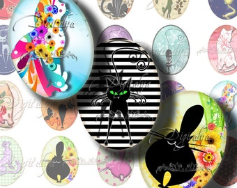 Trendy Kitties - Digital Collage Sheet - Cats with attitudes - Ovals 30x40mm or 18x25mm or other sizes - Buy 3 Get 1 Extra Free