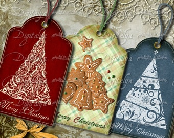 CHRISTMAS TREES gift tags, with Ginger bread cookies, Paisley, country - Digital Collage Sheet - Buy 3 Get 1 Extra Free - Instant download