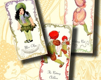 The Little Garden Folks (1) Domino 1x2 inch or Bamboo size - Digital Collage Sheet - Vegetables, fruits Victorian Children Illustrations