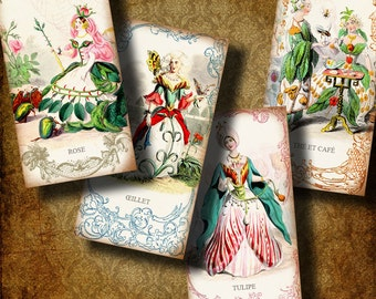 The Flower People - Digital Collage Sheet with 19th Cent French Illustrations  - Domino 1x2 inch or Bamboo size - See Promo Offer