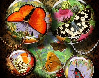 VINTAGE BUTTERFLIES & FLOWERS - Digital Collage Sheet  - 1.5 inch circles (or smaller) for pendant, magnet - Buy 3 Get 1 Extra Free